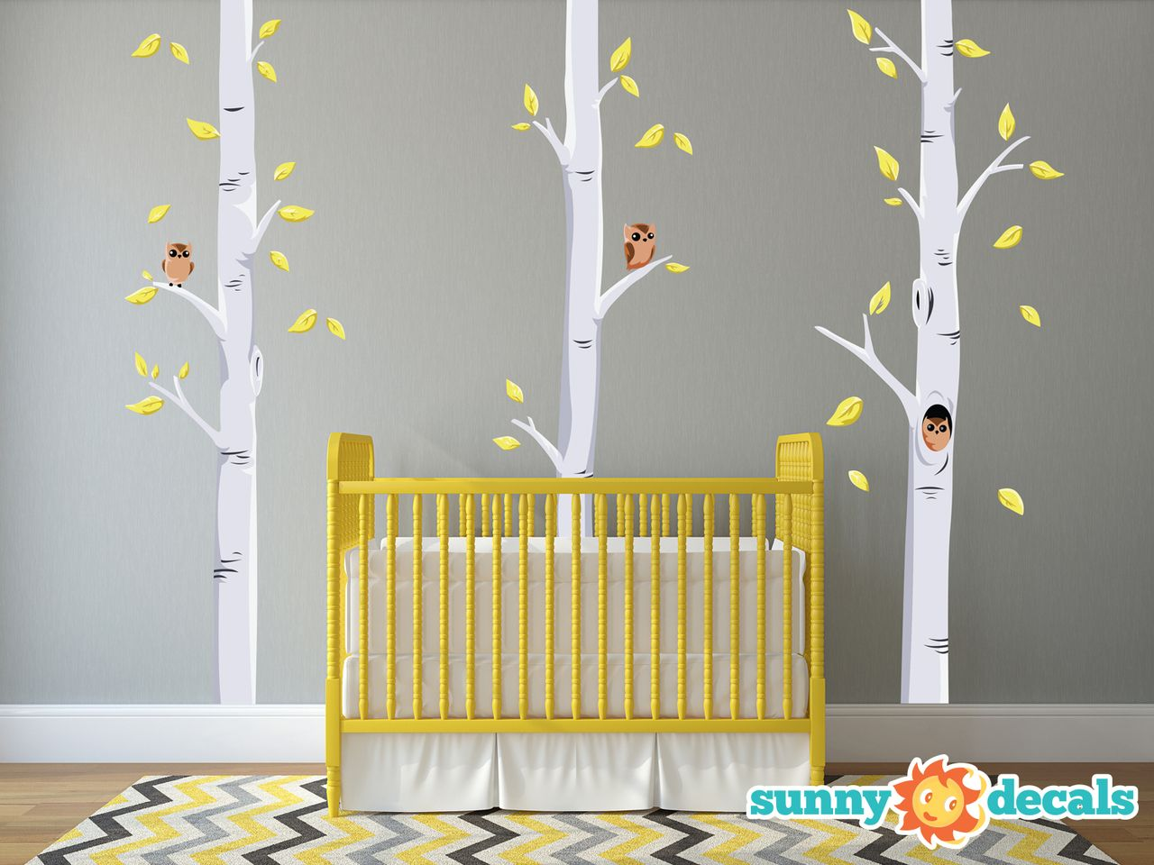 Birch Trees Fabric Wall Decals with Owls and Leaves - Yellow and ...