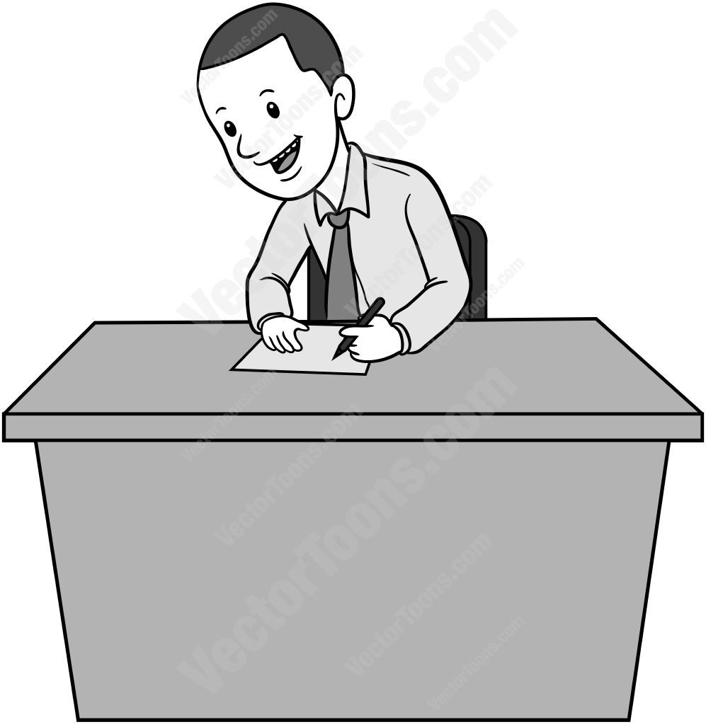 Man sitting behind a desk writing on a piece of paper #businessman #desk #man #office #paper #sitting #smiling #tie #writing