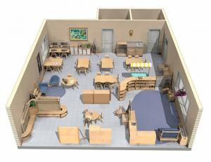 Montessori Classroom Space Idea For Set Up With Wooden Tables
