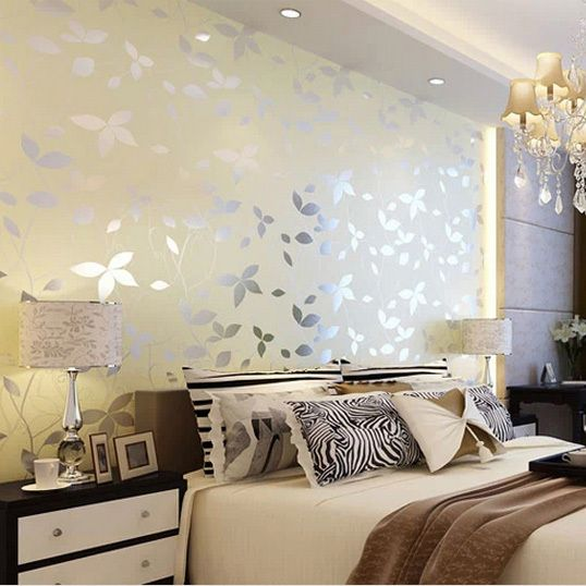 Leaf pearl lustre fabric wallpaper yellow and pink colors for daughter bedroom wall nice choice