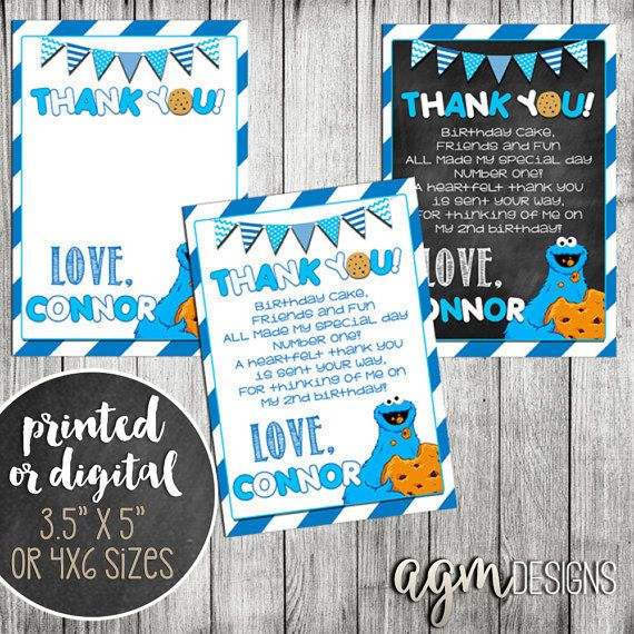 Cookie Monster Thank You Card, Cookie Monster thank you note, Cookie Birthday Thank You, Cookie Monster Note, Cookie Monster Birthday