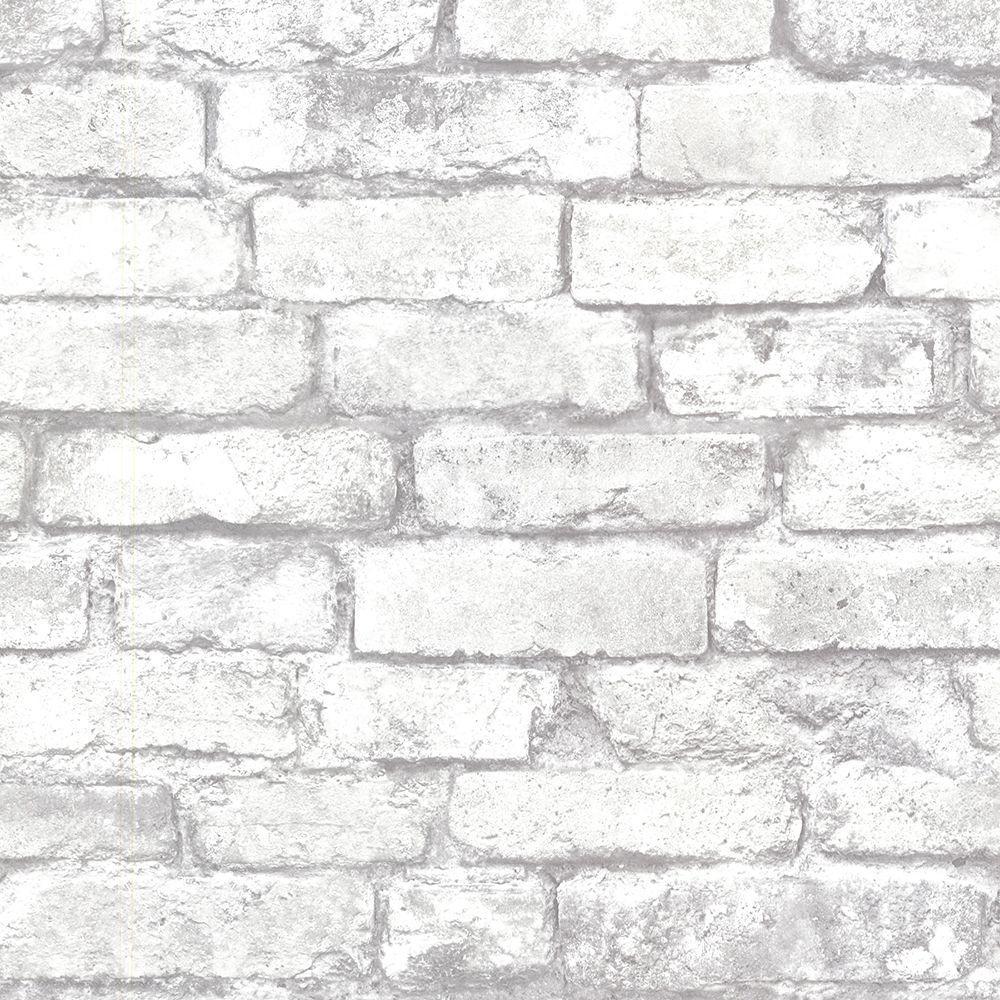 Brewster Chelsea Grey Brick Washable Wallpaper Sample 2686 21261sam The Home Depot White Brick Wallpaper Exposed Brick Wallpaper Brick Texture