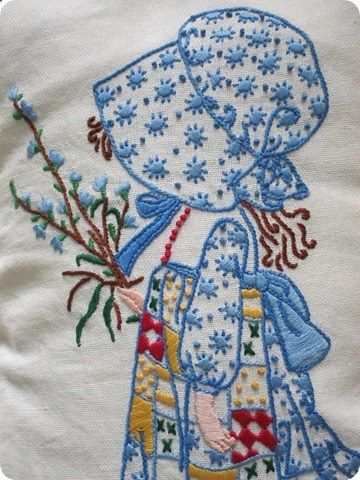 I did this needlework years ago but I have no idea what happened to it. Love Holly Hobbie.