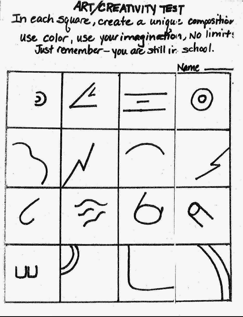 Workbooks squiggle art worksheets : Virginia Heinl's ART Blog: Art Creativity Test Great for a first ...