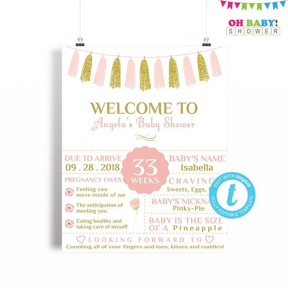 Baby Shower Chalkboard Sign, Pink and Gold Baby Shower Poster ...