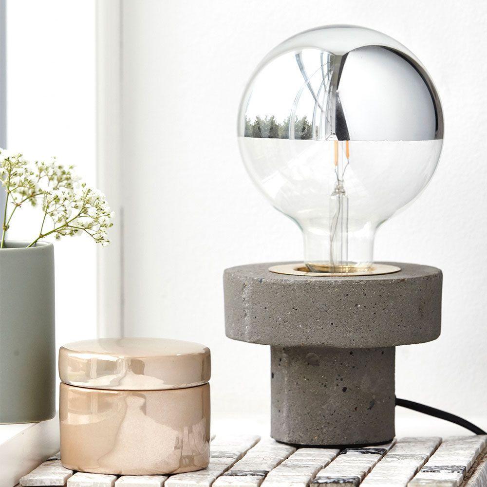 """Sympathisch Moderne Tischlampen Dekoration Von E Doctor Tischlampe """"pin"""" Grau Beton E27"""