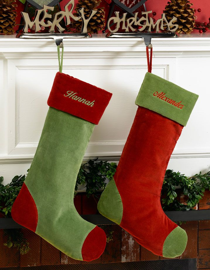 Green and Red Velvet Personalized Stockings Green