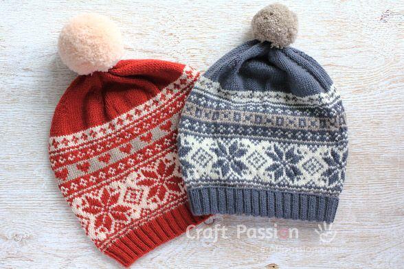 8372b581ae6 Poinsettia Fair Isle Beanie ~ toque   hat knitting pattern