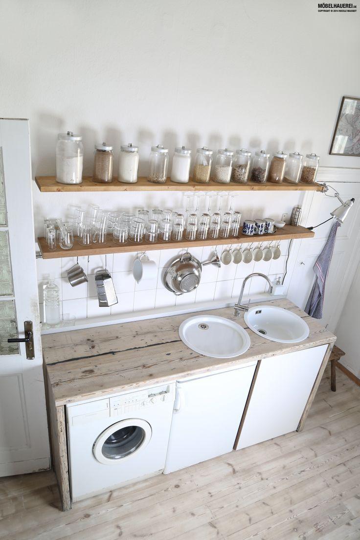 k chenarbeitsplatte aus gebrauchten ger stbohlen. Black Bedroom Furniture Sets. Home Design Ideas