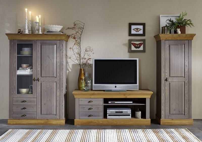 Wohnwand Wohnzimmer Set Wohnzimmerset Kiefer massiv grau - landhausmöbel weiss wohnzimmer