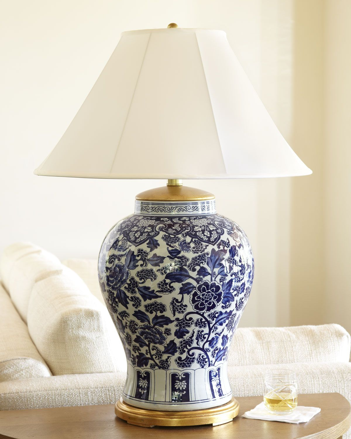 Visit Neimanmarcus For The Ralph Lauren Ginger Jar Table Lamp Hand Painted Oversized Porcelain And Br With White Silk Hardback Shade Has