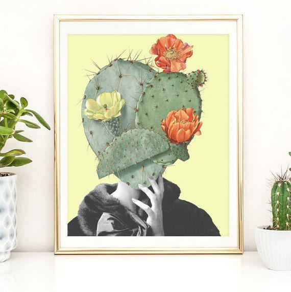 Cactus print - Succulent art poster collage - Cacti Illustration