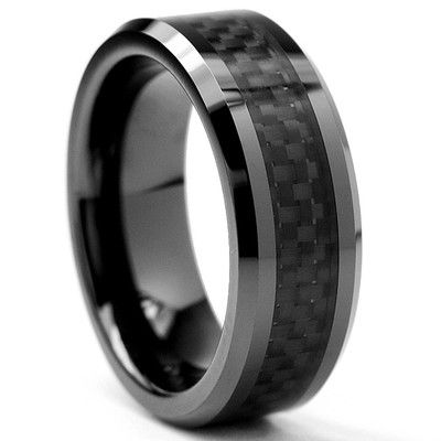 bonndorf flat top mens ceramic carbon fiber comfort fit wedding band wayfair - Carbon Fiber Wedding Rings