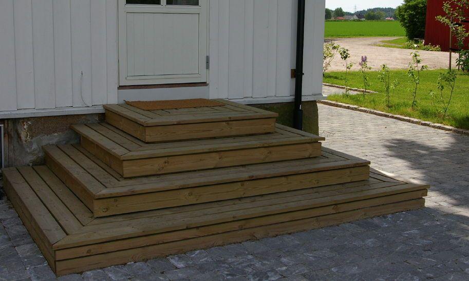Jeg er i ferd med å bygge opp ny terrasse og ønsker en trapp som går ut til tre sider på midten foran på terrassen. Kan noen si meg hvordan jeg best mulig bygger opp en trapp som i bildet under? Ønske