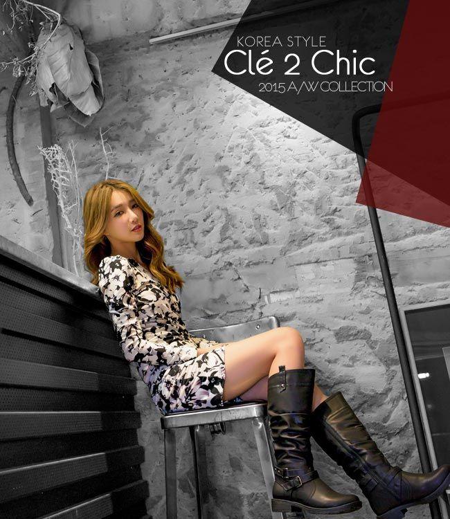 Cle 2 Chic-正韓-V領抓皺合身印花短裙洋裝