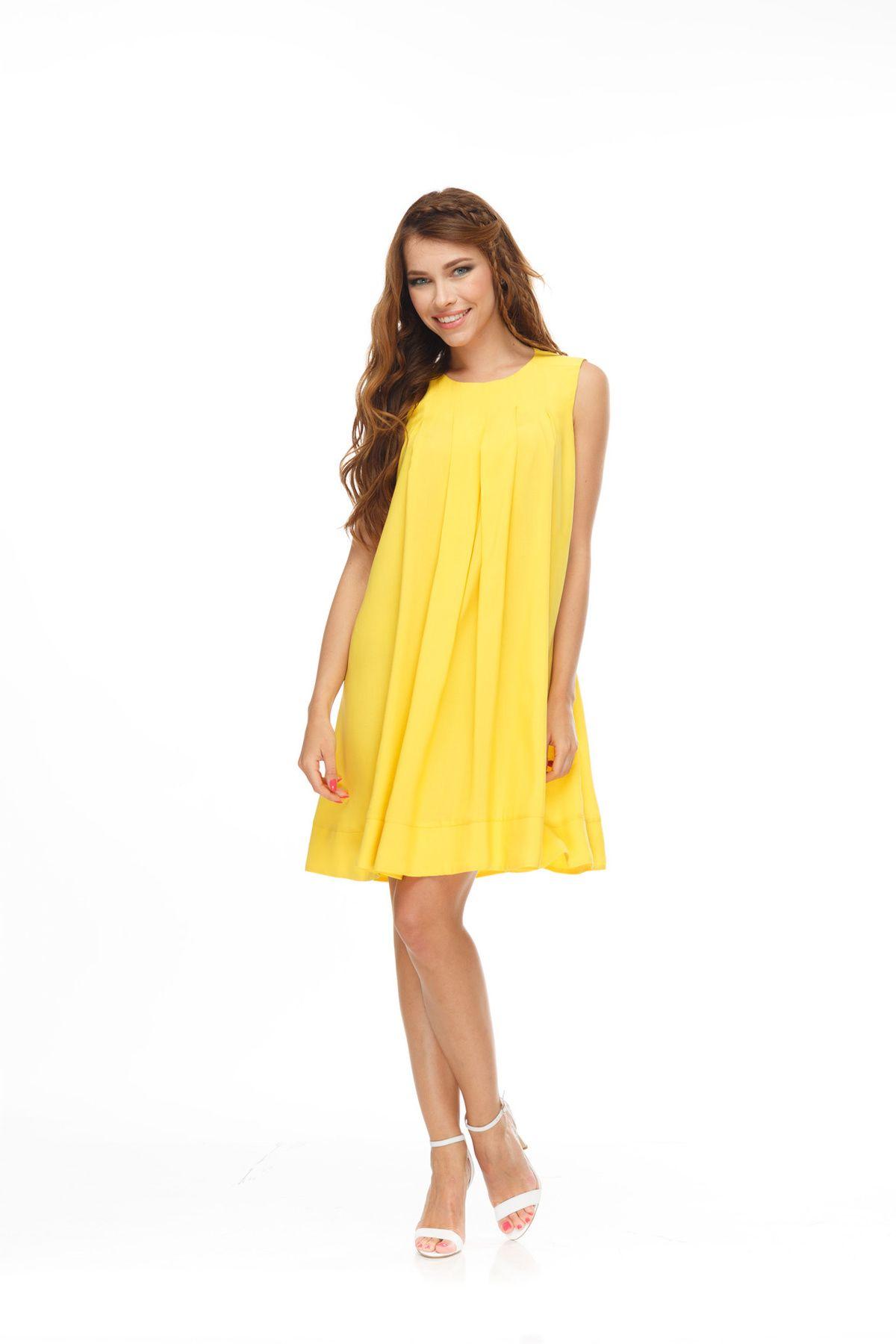 Платье желтое расклешенное  5958473530d96