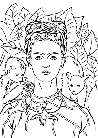 Self Portrait with Necklace of Thorns by Frida Kahlo coloring page ...