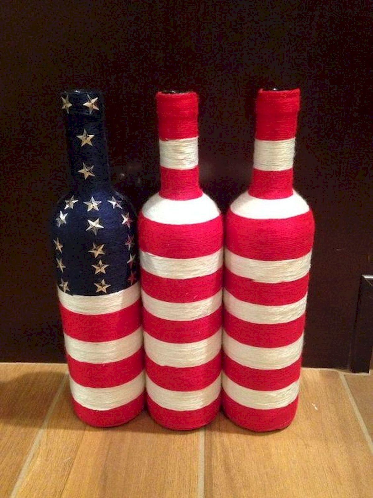 80 Diy America Independence Day Decor Ideas And Design Http Prohomedecor Info 80 Diy America Indep Wrapped Wine Bottles Wine Bottle Crafts Beer Bottle Crafts