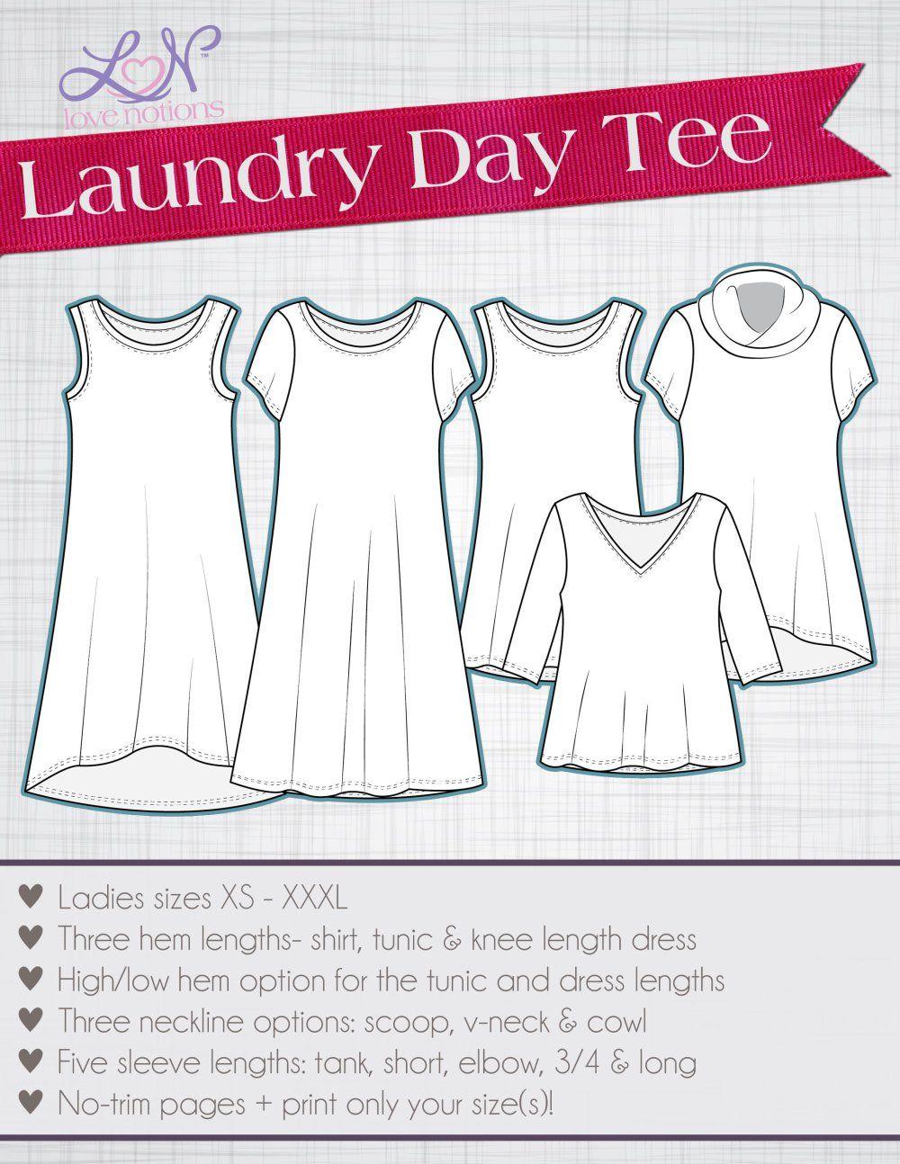 Love Notions Laundry Day Tee XS-XXXL | DIY & crafts | Costura ...