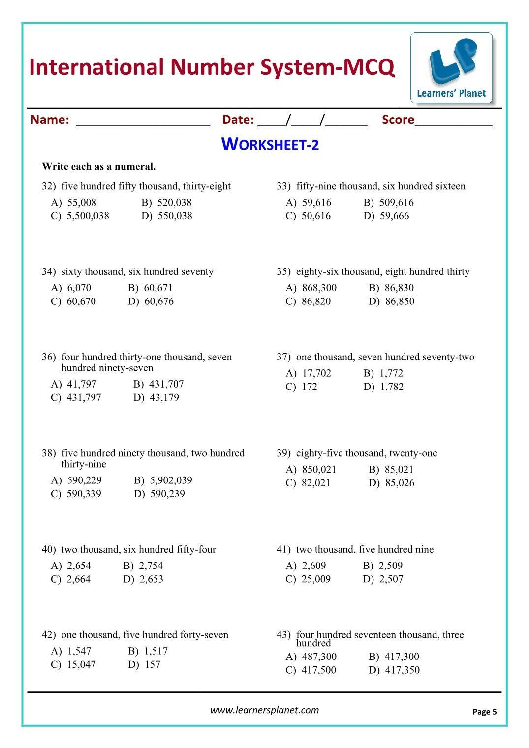 Real Number System Worksheet Fifth Class Math Videos ...