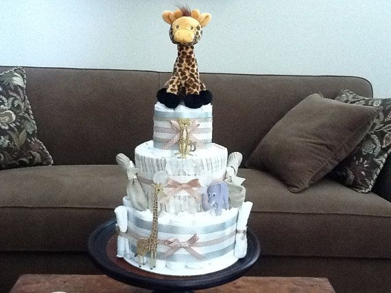 Gender Neutral Diaper cake Cream and by bearbottomdiapercakes