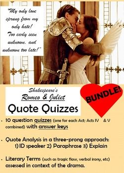 Romeo And Juliet Quote Quizze By Act Quizzes In Text Citation Paraphrase