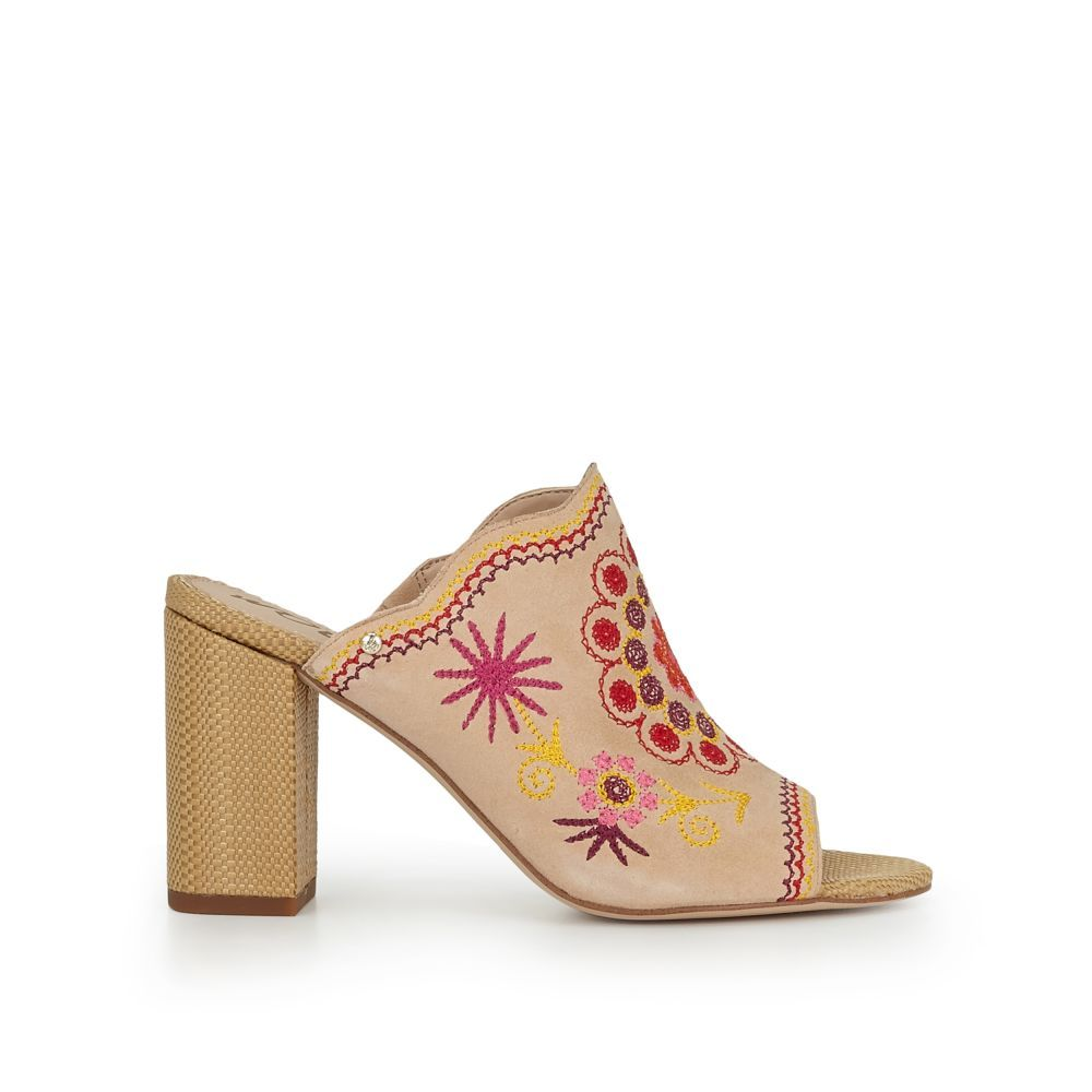6c3049a289e Our Olive Block Heel Mule is our bohemian dream come to life. With floral  and funky embroideries