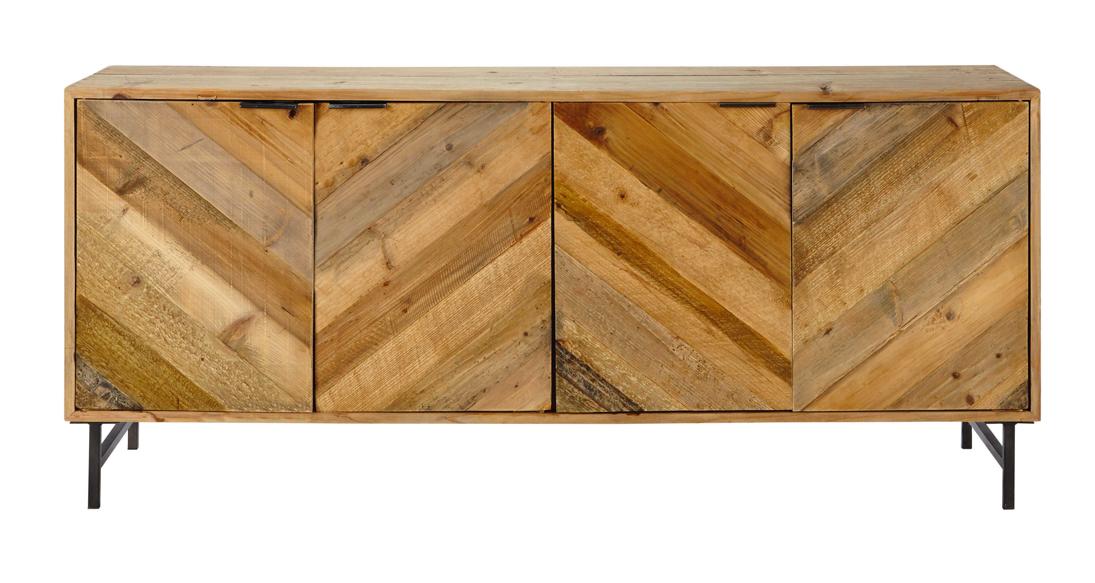 Credenza Bassa Fai Da Te : Credenza bassa in legno di pino riciclato l 175 cm chevron