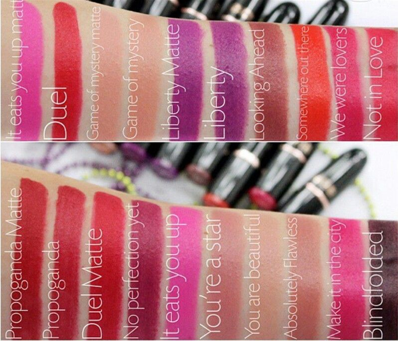 Swatches of the Makeup Revolution Iconic Pro Lipsticks By