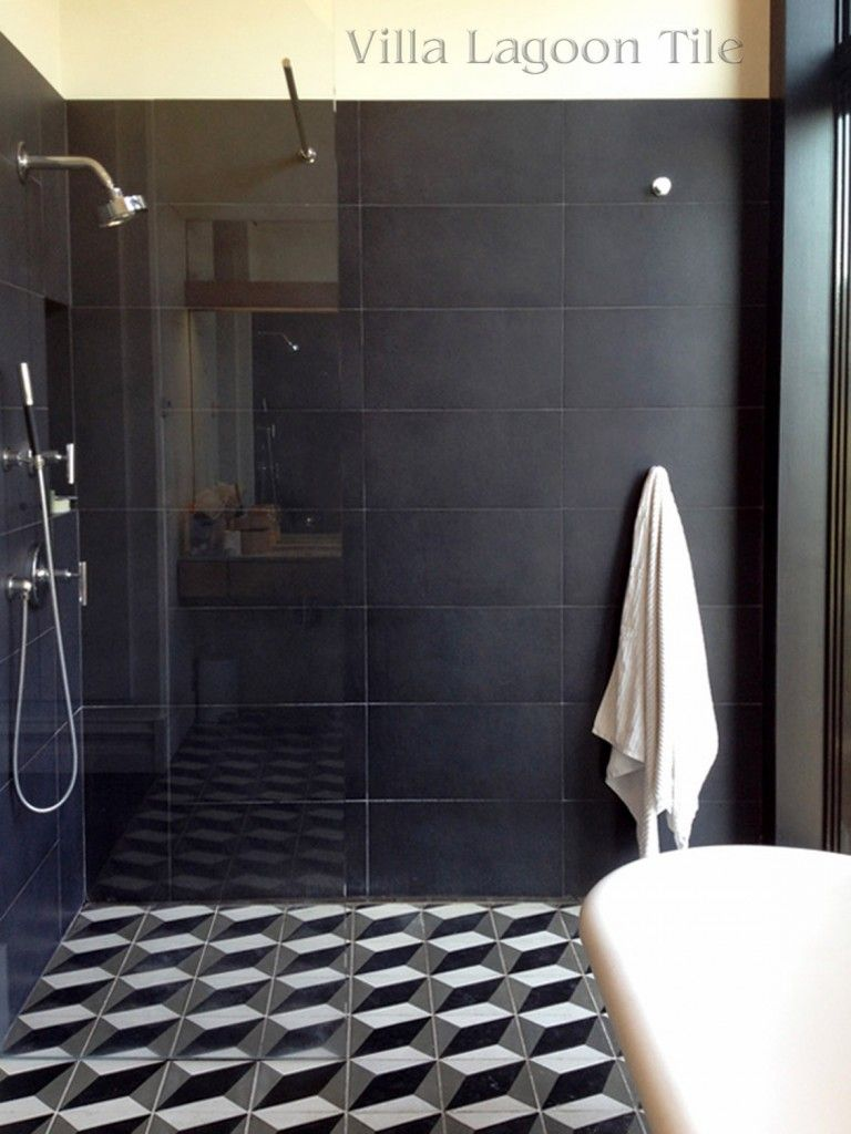 Brooklyn Townhome Bath Shower With Our Large Cubes Blackwhite - Bathroom tile patterns black and white