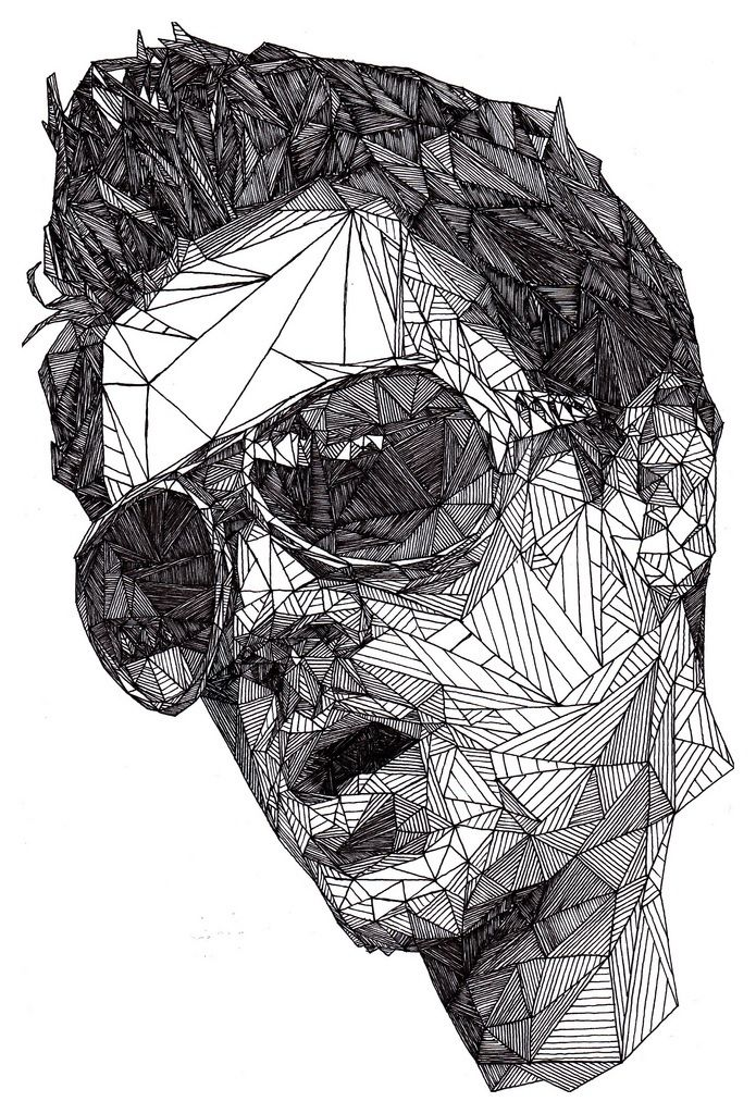 Dazzling pen portraits by josh bryan geometric facegeometric artworkgeometric linespen drawingsabstract