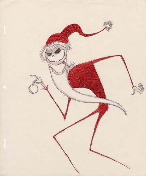 "Tim Burton artwork for Jack Skellington as ""Santa Jack"" from The ..."