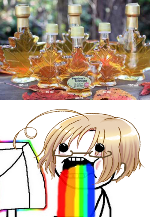 HAHAHAHAHA Canada + maple syrup = true love~ Hetalia(( this is me XD i am a Canadian stereotype all my friends say it too))