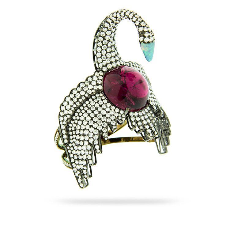 SWAN BRACELET by Silvia Furmanovich  18 carat gold, diamond, aquamarine and rubellite bracelet.