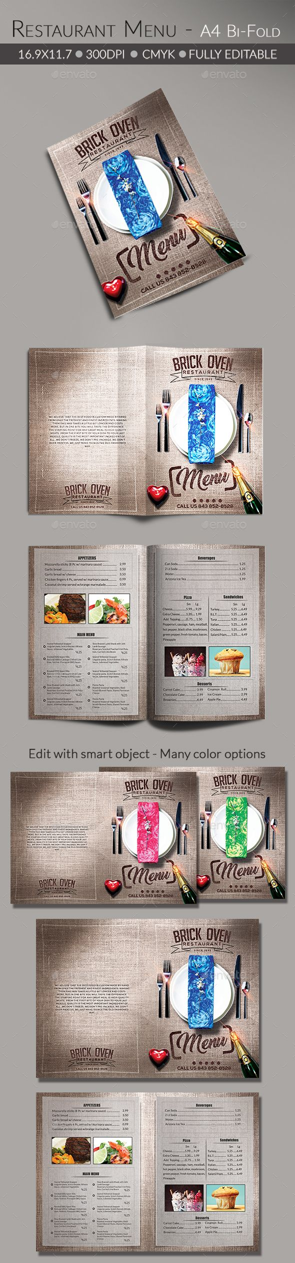 Food/ Restaurant Menu by Arrow3000 File Features: 鈥rint Ready PSD 鈥?6.9鈥漻11.7鈥?20inch   Bleed and Guidelines 鈥?00 dpi / CMYK鈥any color options 鈥asy edit with smart