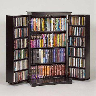 Mueble de madera para CD abierto  casa en orden