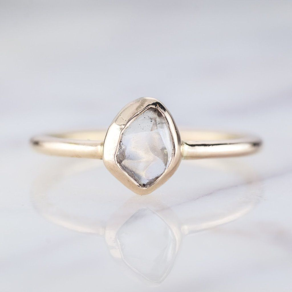 65 Carat Clear Uncut Diamond Engagement Ring Jane Setting 14k Yellow Gold