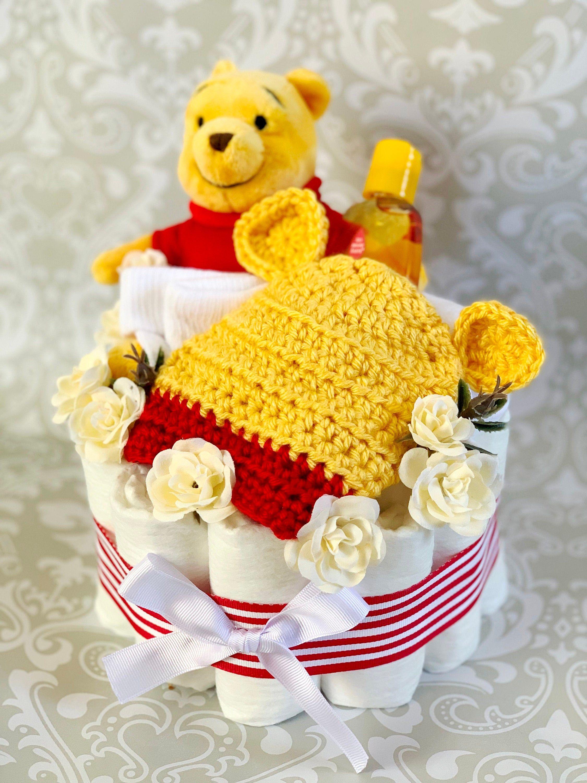 Baby boy one tier honey bear diaper cake an adorable