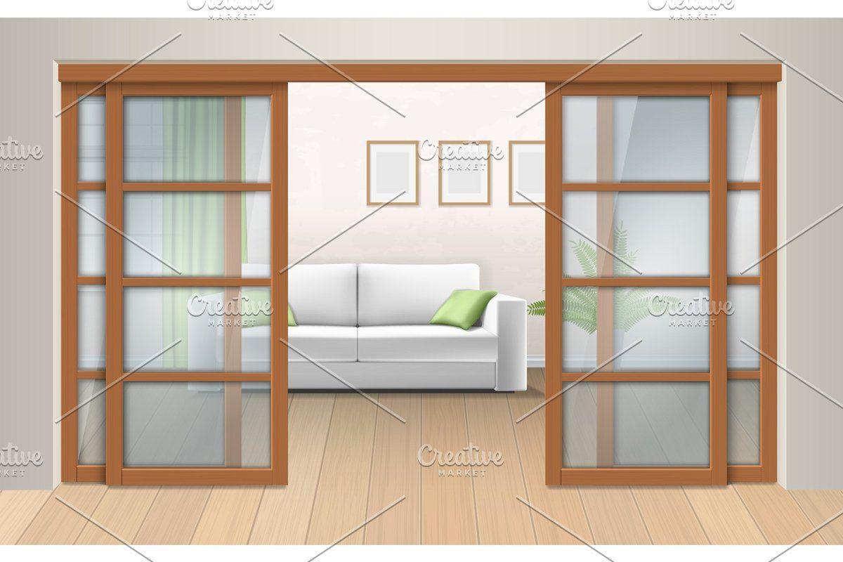 Set Small Building Facades Room Interior Living Room Interior Sliding Doors
