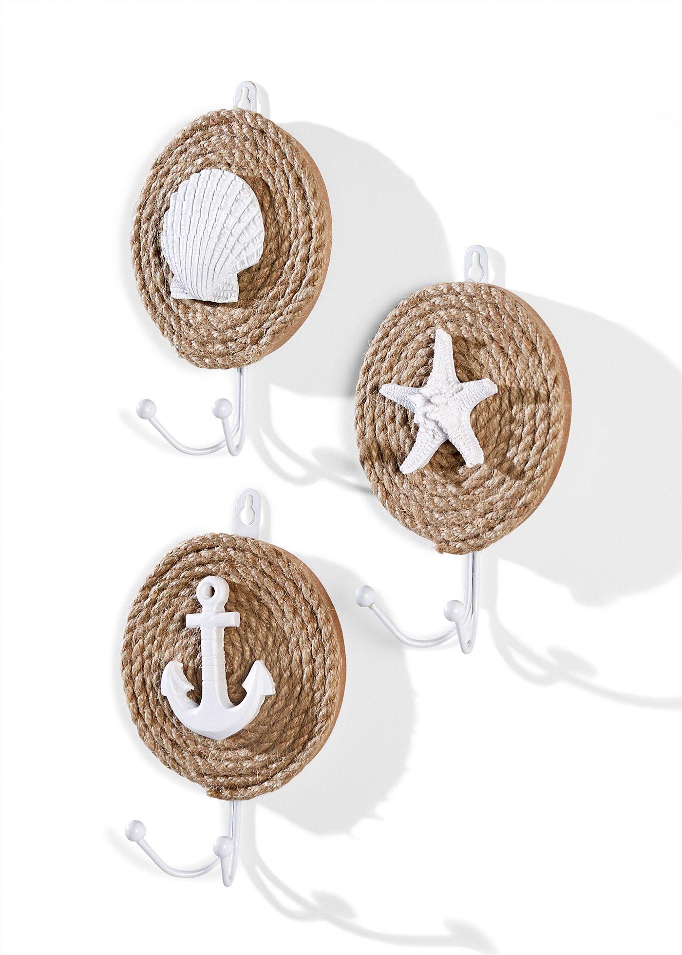 Http Www Bonprix De Produkt Wandhaken Maritim 3 Tlg Set Sand Weiss