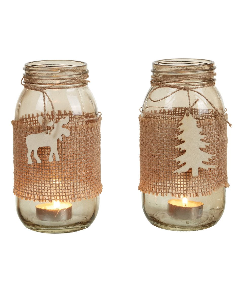 Another great find on #zulily! Glass Holiday Candleholder - Set of Two by Transpac Imports #zulilyfinds