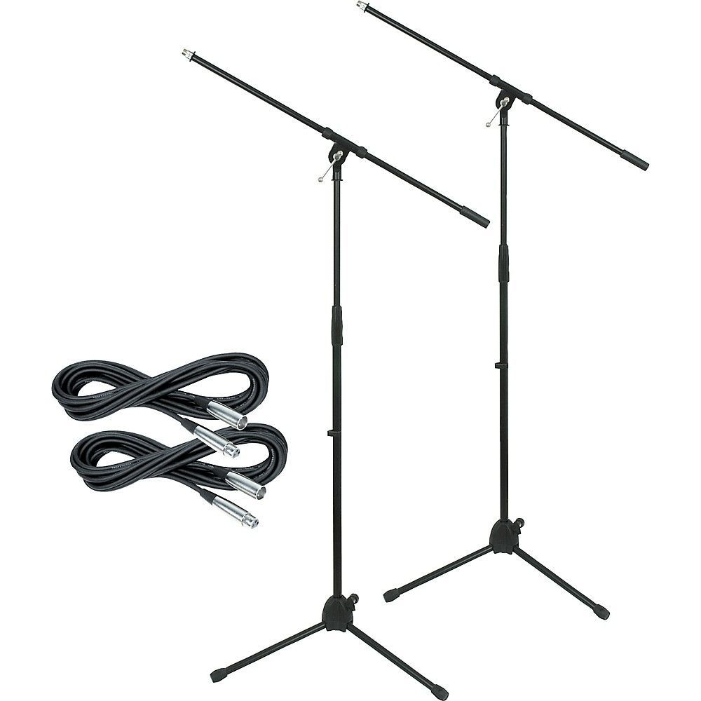 tripod mic stand with 20 foot mic cable  2 pack
