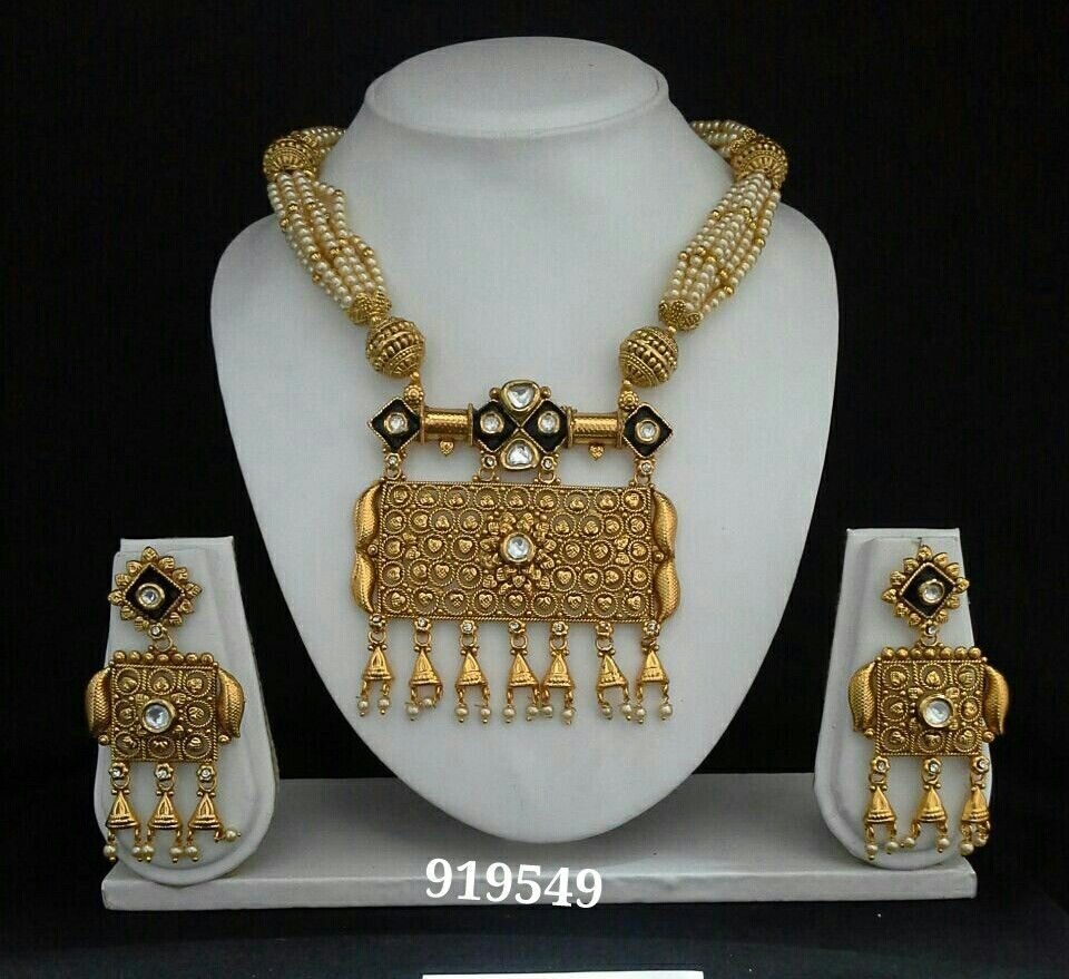 Indian necklace pendant ethnic pearl set gold jewelry moti bollywood