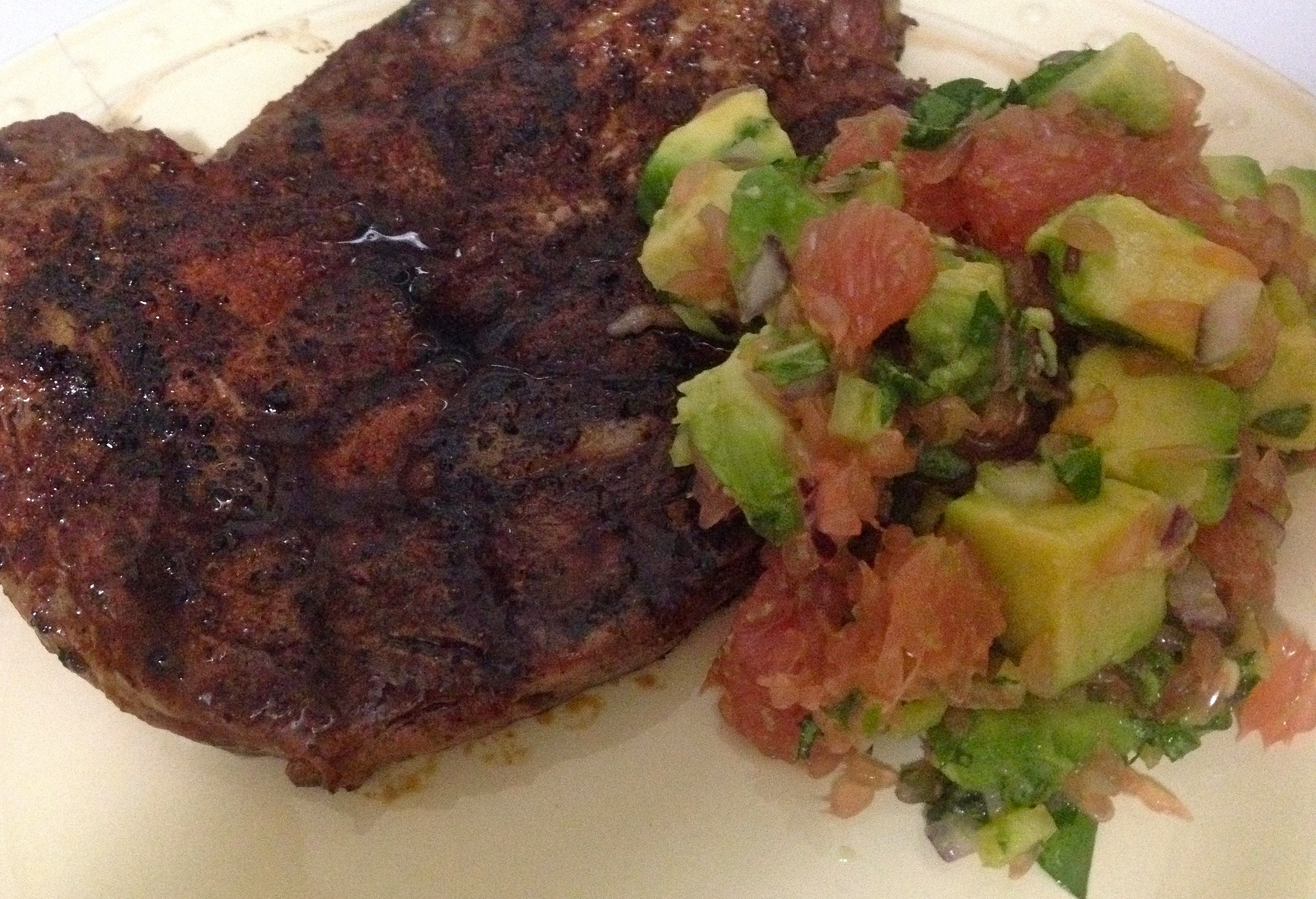 Spice Rubbed Steak w/ Avocado & Grapefruit Salsa