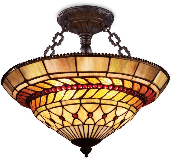 Bed bath beyond elk lighting art glass leaf 3 light semi flush finished