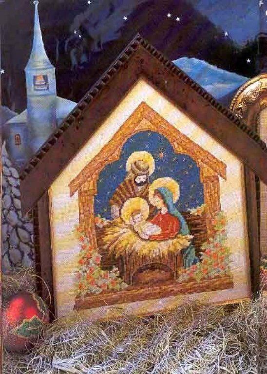 Manteles de navidad cross stitch stitch and religious cross - Manteles para navidad ...