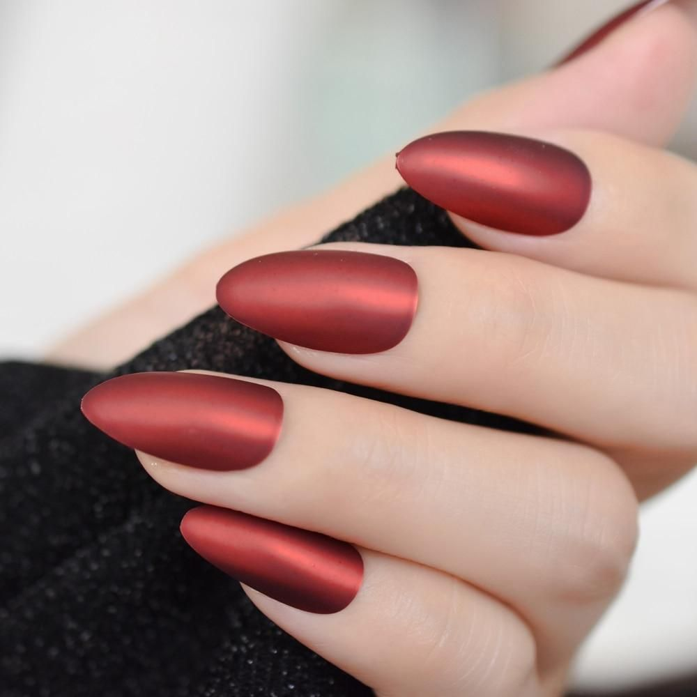 Matte Metallic Red Stiletto Nails Fake Nail Store Fake Nails Acrylic Nail Tips French Acrylic Nails