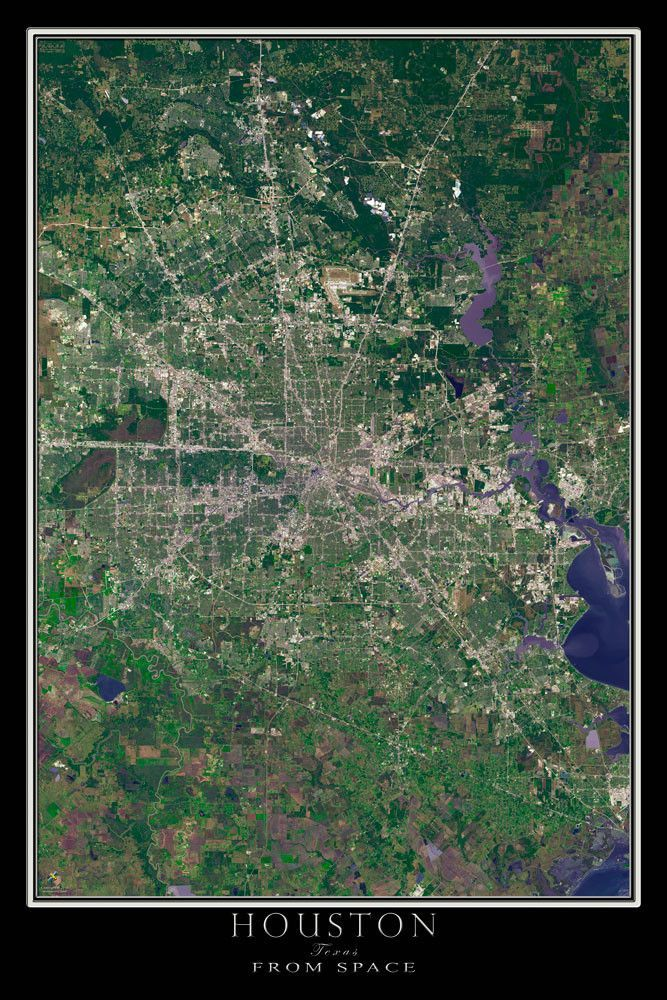Houston Texas Satellite Poster Map Houston Texas