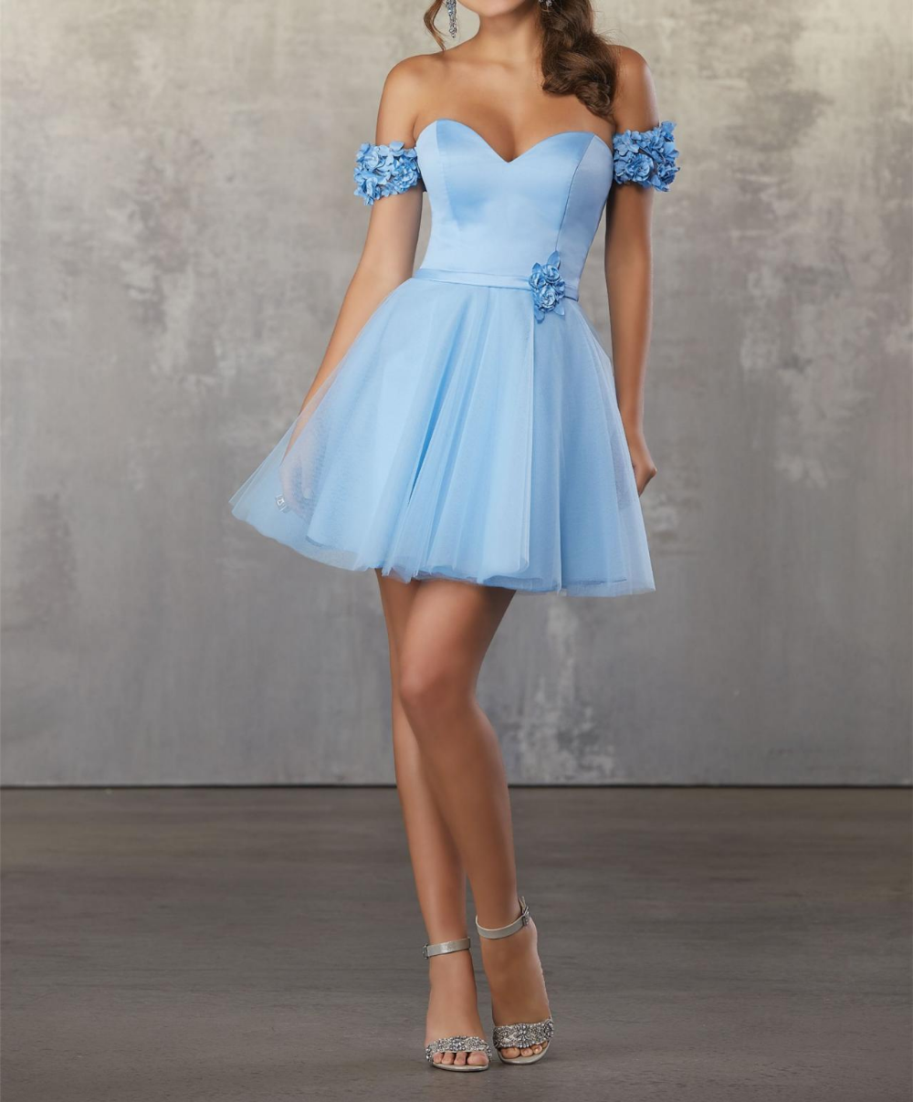 Light Blue Tulle Appliques Off The Shoulder Homecoming Dresses A Line Short Length Sweetheart Ho Pretty Homecoming Dresses Homecoming Dresses Tulle Party Dress [ 1207 x 1000 Pixel ]