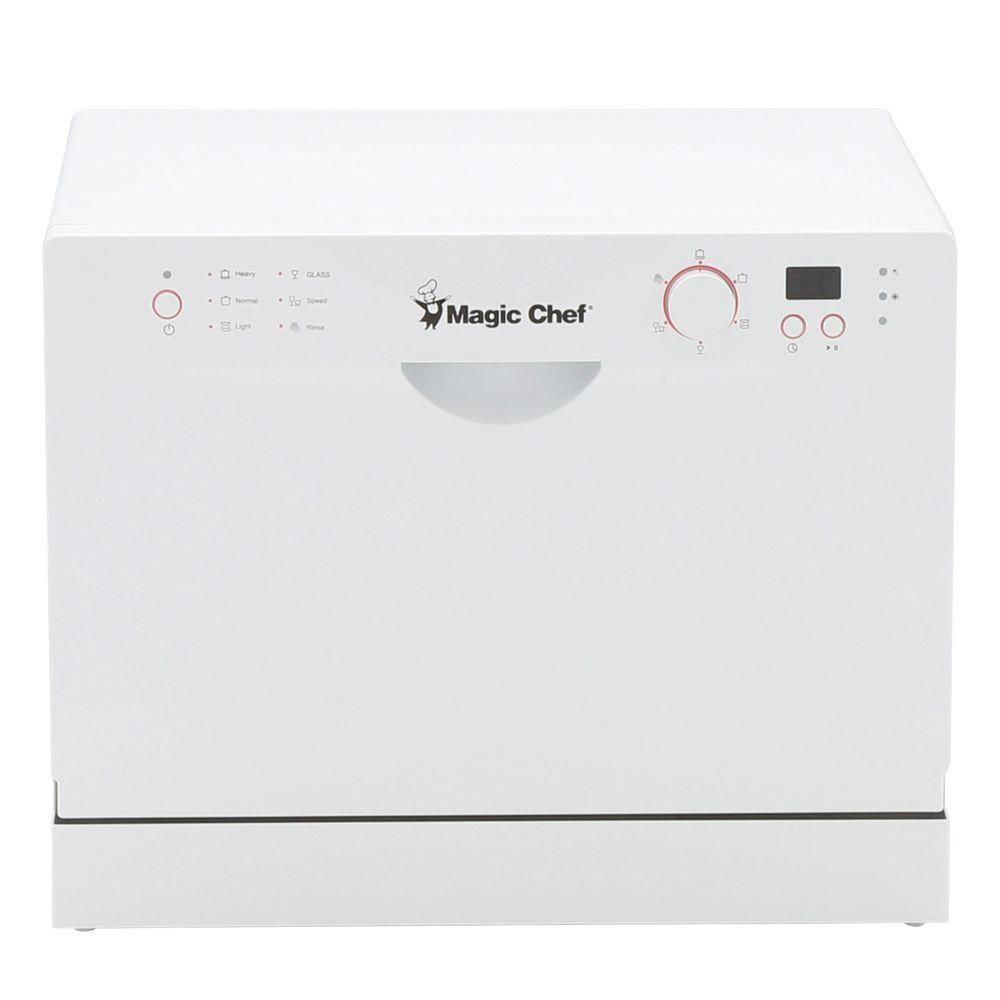 Magic Chef Countertop Portable Dishwasher In White With 6